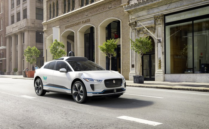 Waymo's self-driving Jaguar I-PACE electric SUV.