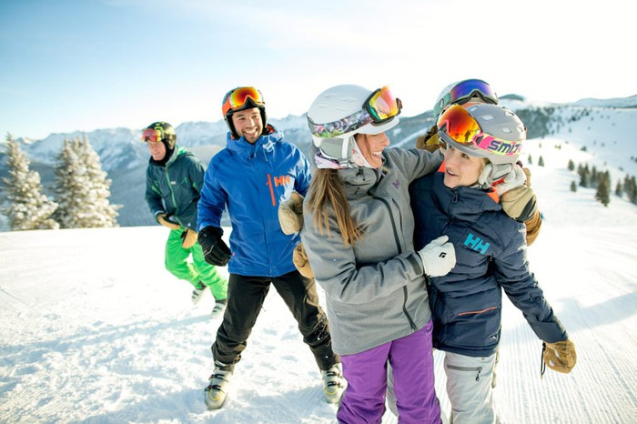 A group of skiers on a mountain at Vail.