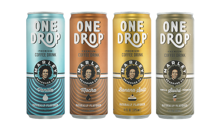 Cans of Bob Marley's One Drop coffee drinks.