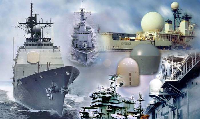 A graphic rendition of some of the radomes made by L-3 for naval customers.