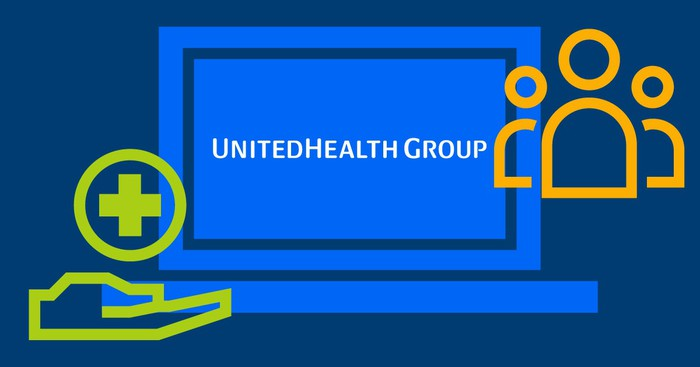 Graphical representation of people and a hand with a healthcare symbol above it, in front of a UnitedHealth logo.