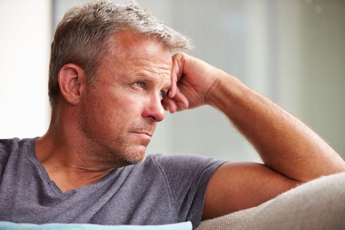 Mature man looking pensive