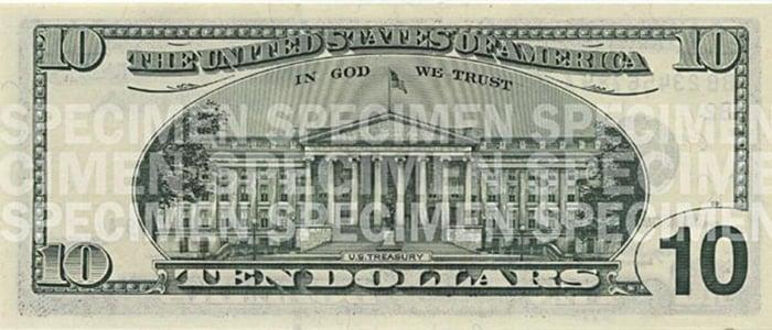Back face of $10 bill.