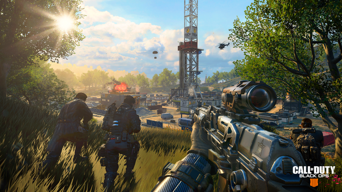 A screenshot taken from Call of Duty Black Ops 4 depicting a first-person view of a soldier holding a sniper rifle.