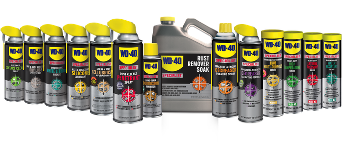 Suite of WD-40 specialty products lined up.