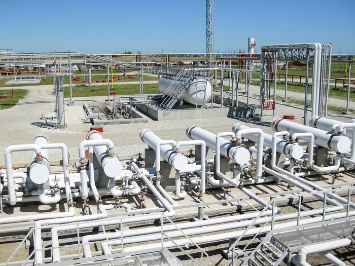 Heat exchangers at a gas processing facility.