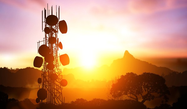 Telecom tower in sunset