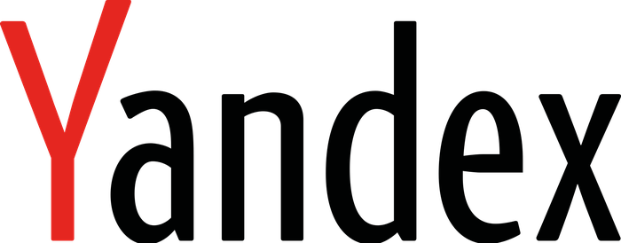 Yandex text logo with a red letter Y