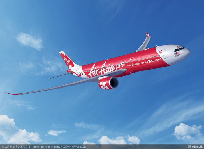 A rendering of an A330-900neo in the AirAsia X livery.