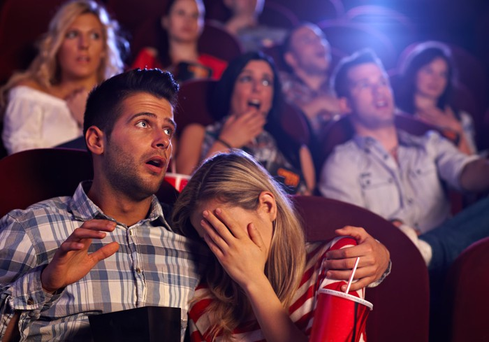 Couple cringing at movie theater