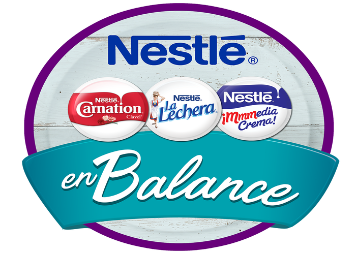 Circle with Nestle logo and three brands of dairy creamer.