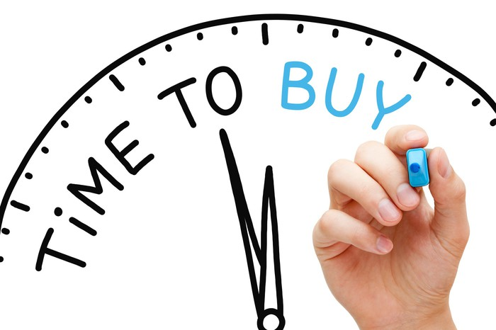 """Hand holding a blue market with drawing of a clock with """"time to buy"""" written on it"""