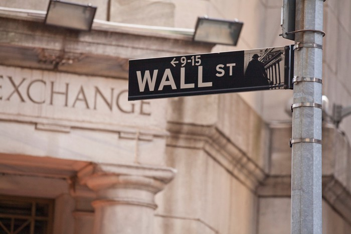 Wall Street sign in front of New York Stock Exchange building.