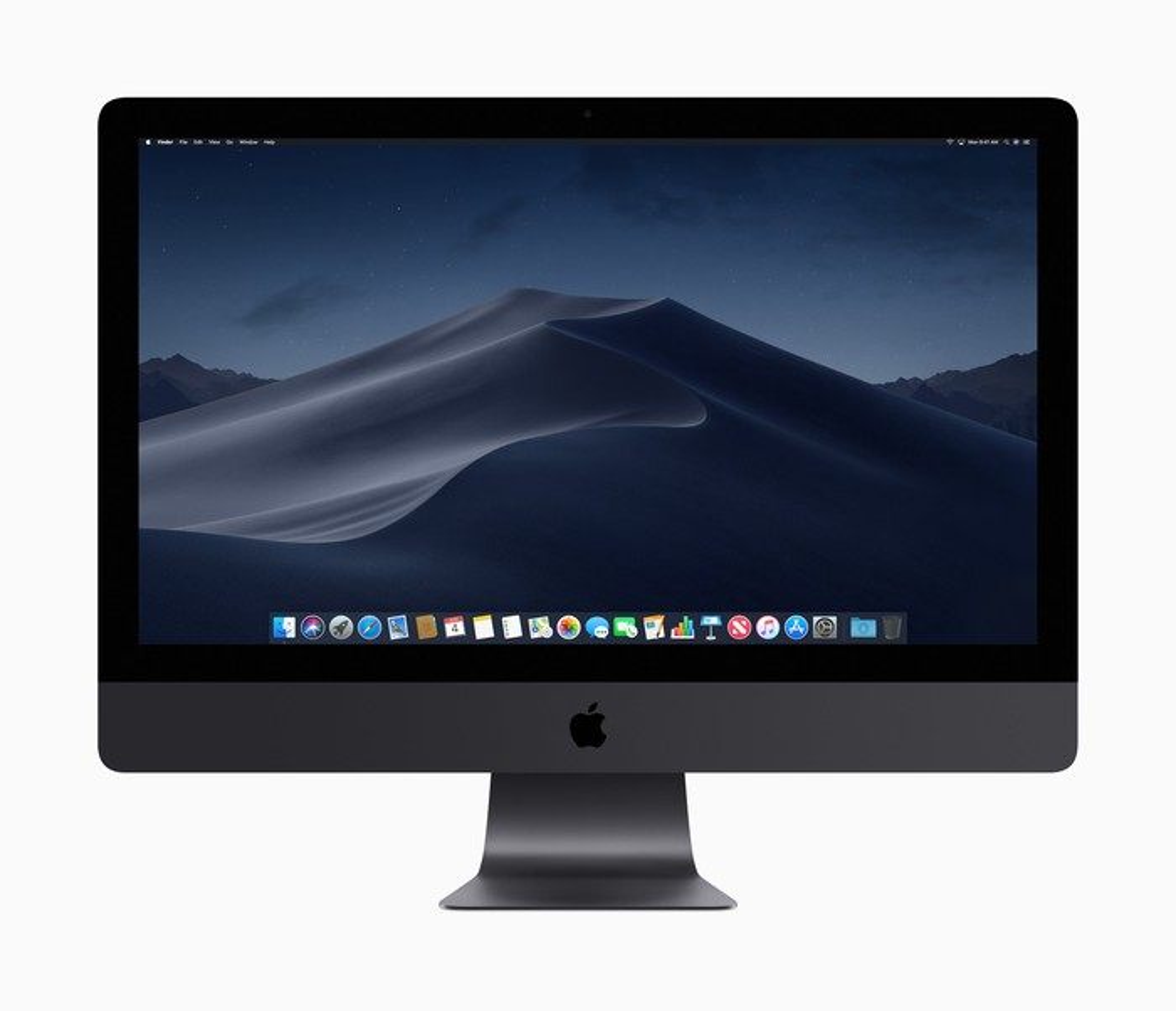 A black Mac desktop computer