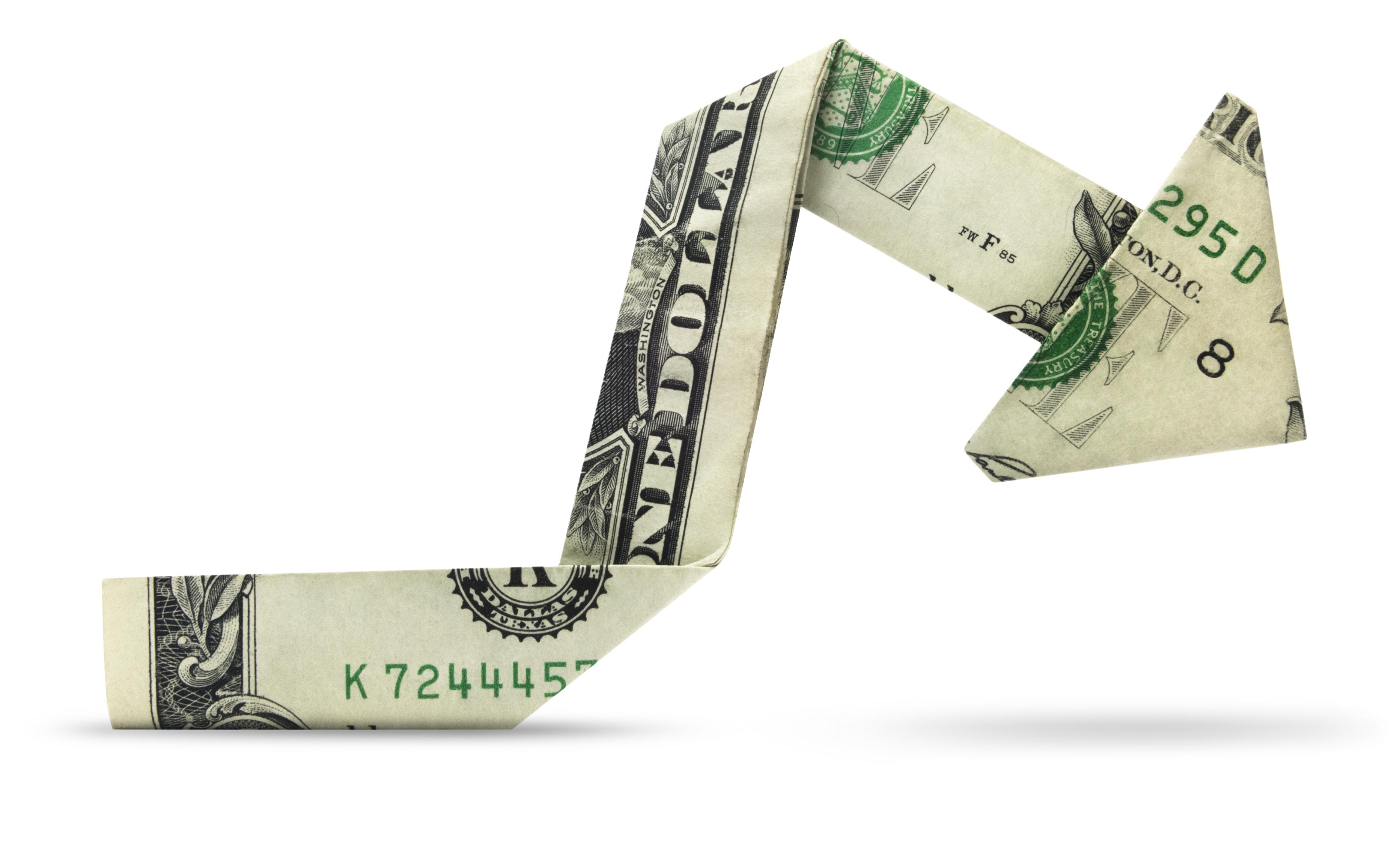 Dollar bill chart down
