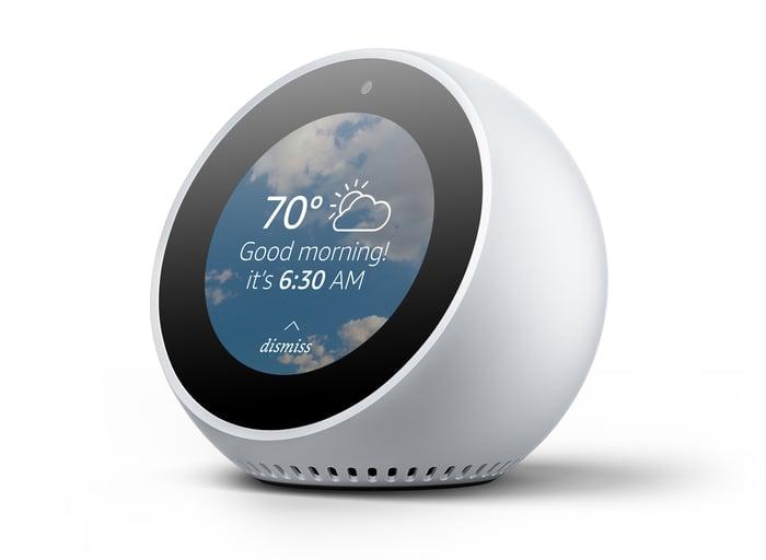 Amazon's Echo Spot alarm clock.