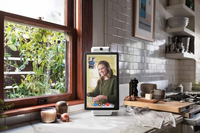 Image of Facebook's Portal device sitting on kitchen counter.