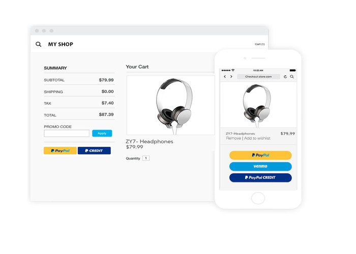 Checkout on desktop and mobile using PayPal's Smart Payment Buttons.