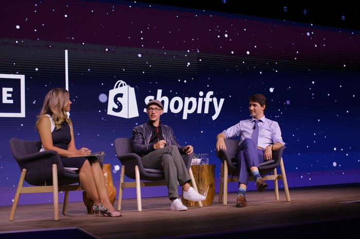 Shopify CEO Tobi Lutke with Canadian Prime Minister Justin Trudeau at this year's Unite conference.