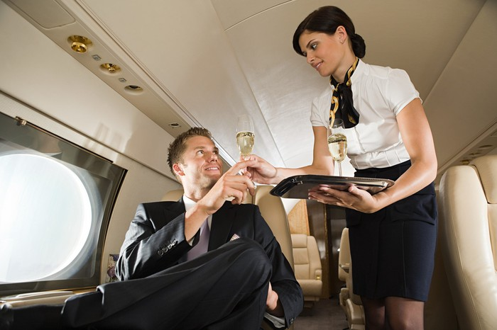 A passenger on a business jet
