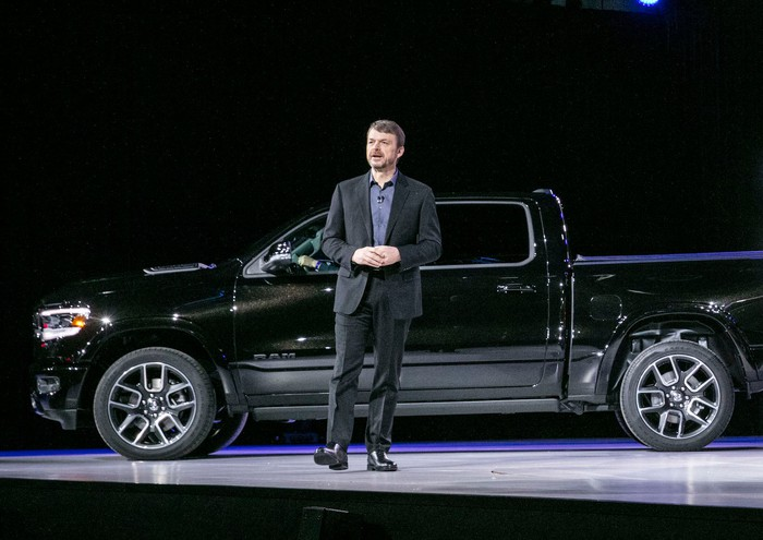 Mike Manley presented the all-new 2019 Ram 1500 pickup at the North American International Auto Show in January 2018.