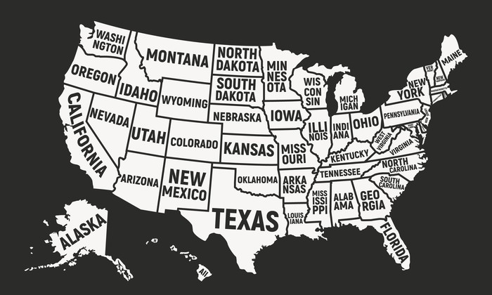 map uf United States of America with states outlined and labeled