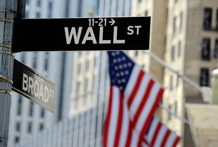Wall Street and Broad Street signs with American flags and tall buildings in the background