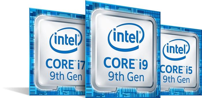 Intel Core logos.