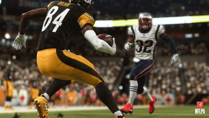 Screenshot from EA's Madden NFL video game showing two football players on the field.