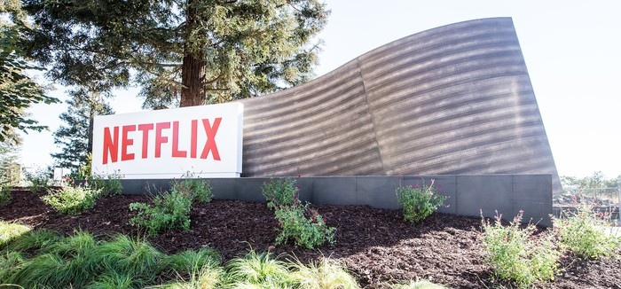 Netflix sign at its corporate headquarters