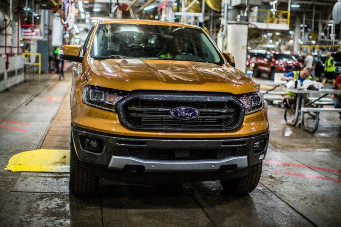 Front end of Ford's 2019 Ranger midsize truck