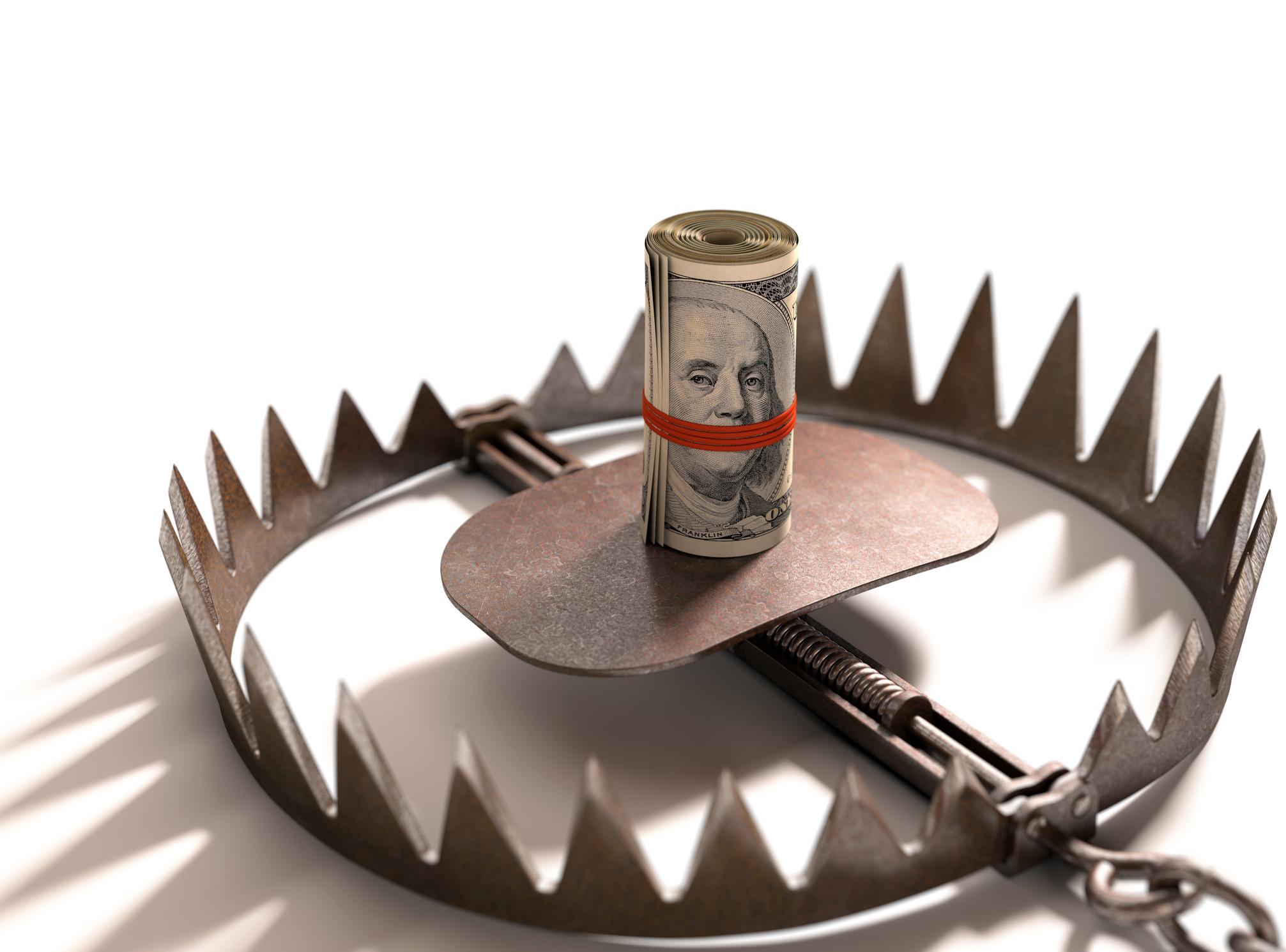 Bear trap using money as bait.