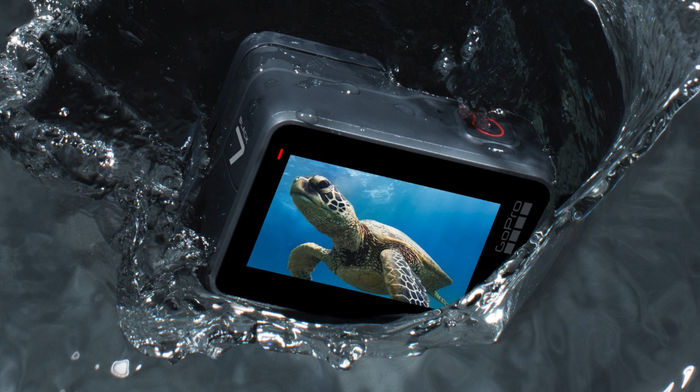 A GoPro Hero7 Black camera being dropped in water. There's a turtle on the camera's screen..