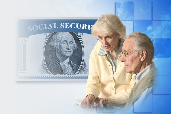 Older couple holding hands in front of a blue backdrop with the frame of a Social Security card and a $1 bill.