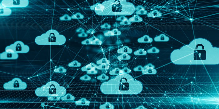 Artist's rendering of clouds, each is imprinted with a lock icon and connected to others.