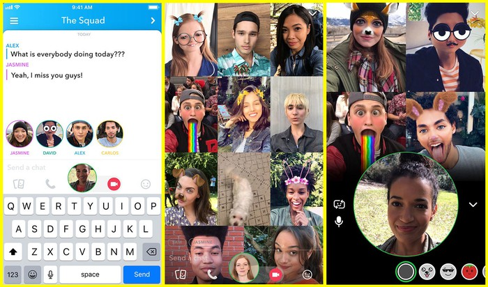 Snapchat's group video chat feature with several users in video chat playing with filters.