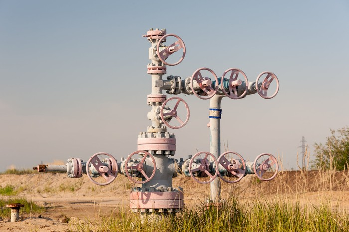 A natural gas wellhead.