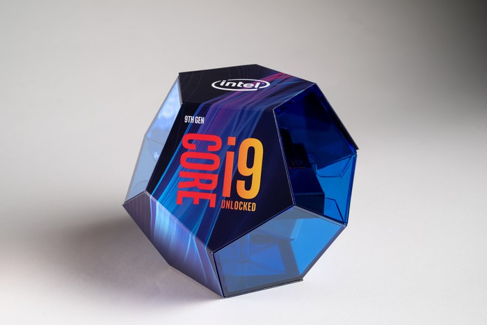 An Intel 9th Gen Core processor box.