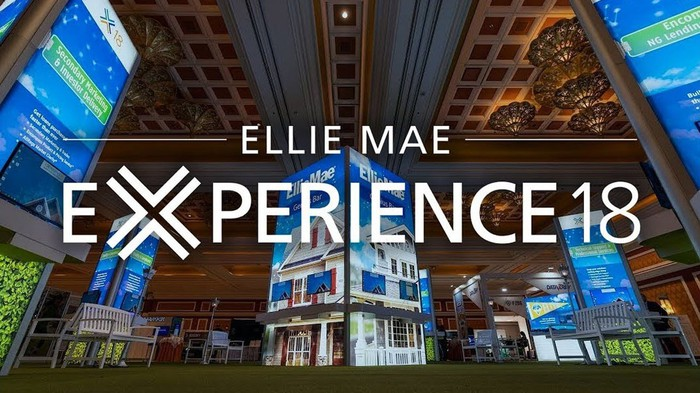 Backdrop of a house, roof of convention center, and software platform screenshots behind Ellie Mae Experience 18 banner.