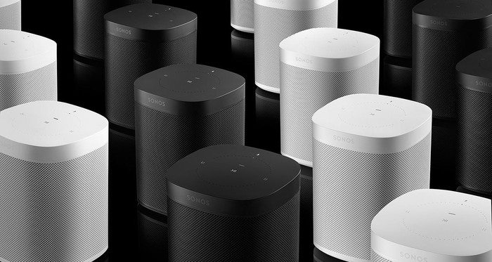 Black and white Sonos One smart speakers.