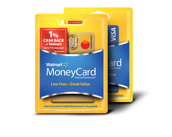 Walmart MoneyCards in packaging.