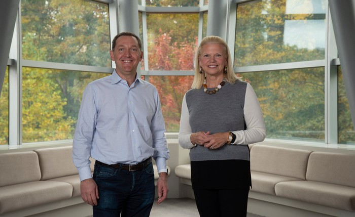 Red Hat CEO Jim Whitehurst on the left, IBM CEO Ginni Rometty on the right.