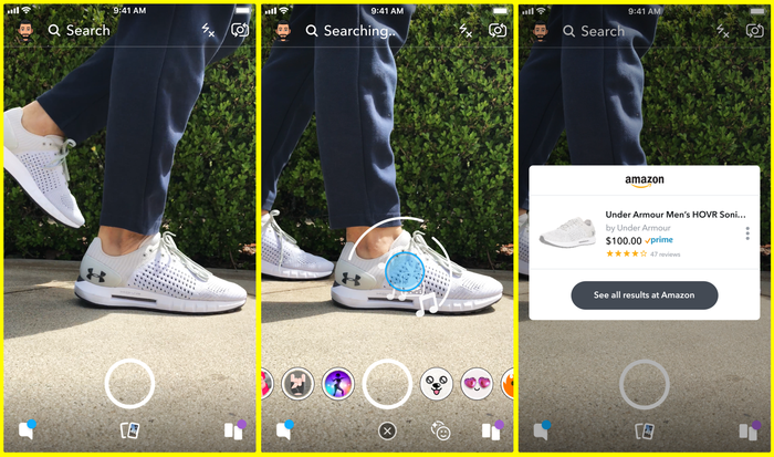 Snap and Amazon's visual search feature.