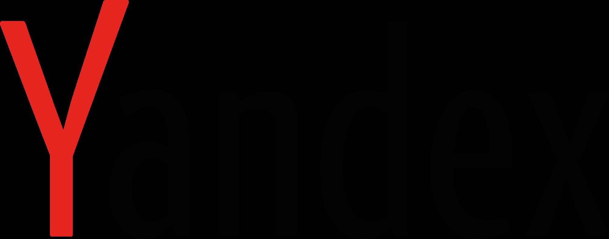 """Yandex English logo with red """"Y."""""""