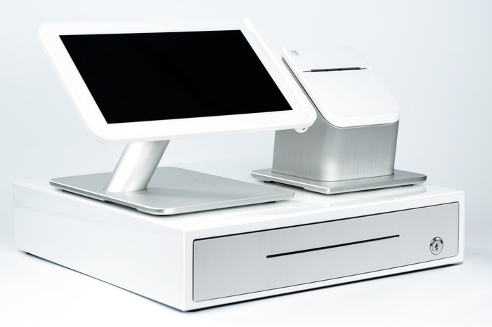 Point of sale station made by First Data