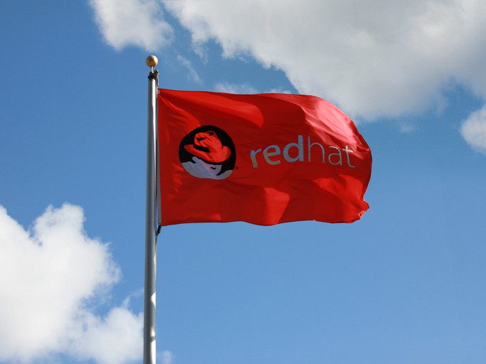 A red flag, featuring Red Hat's logo, fluttering against a mostly blue sky.