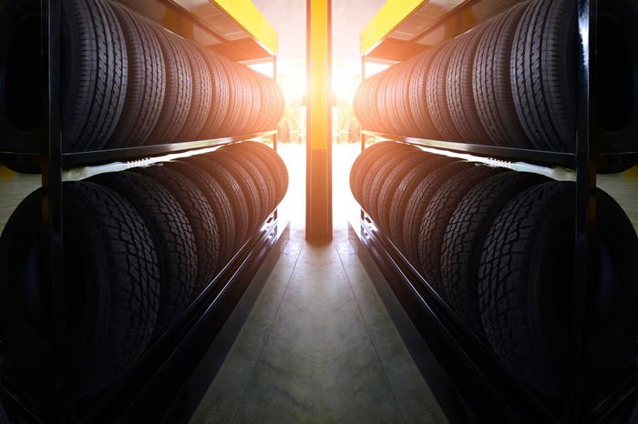 Rows of tires on shelves