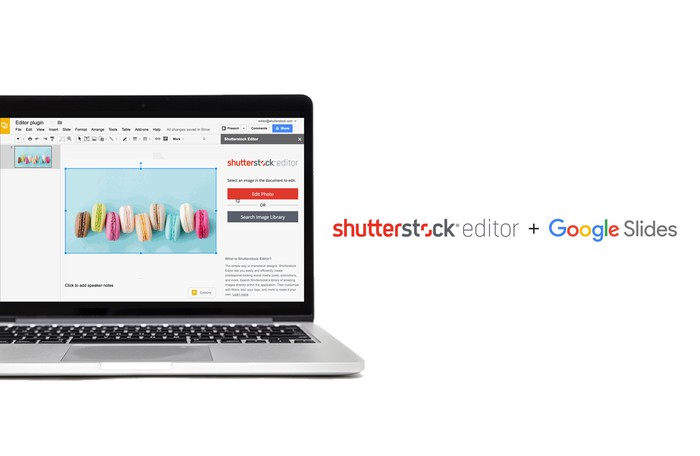 Laptop running image software, with logos for Shutterstock and another tech company at right.