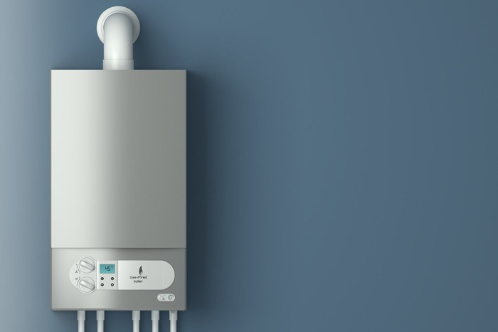 Wall mounted water heater.