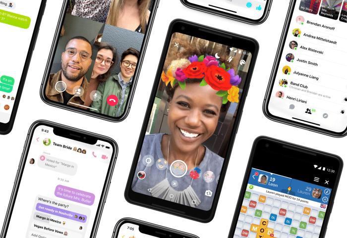 Facebook Messenger 4 displayed on smartphones